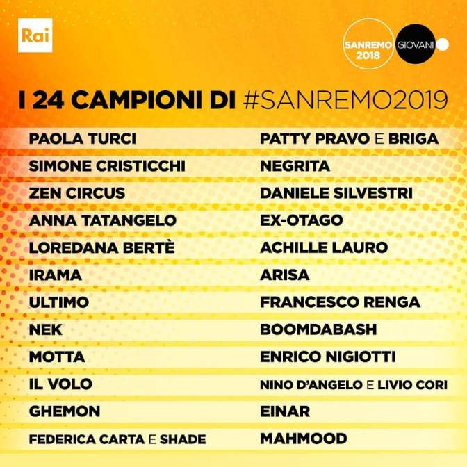 Festival di Sanremo 2019, i 24 big in gara